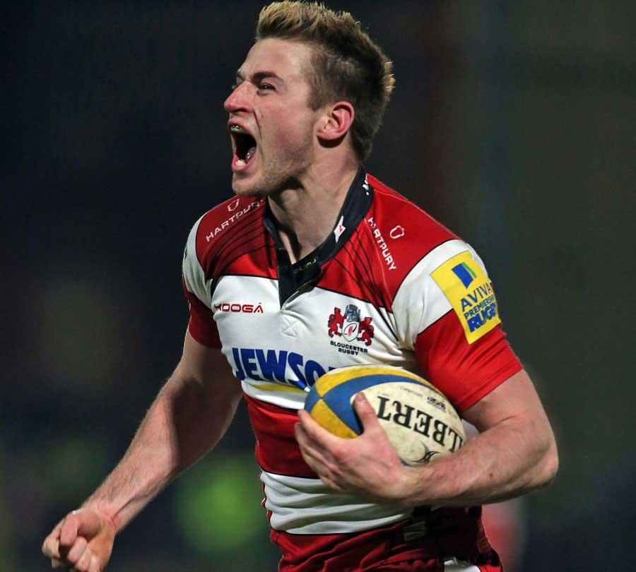 Gloucester's Henry Trinder celebrates a score