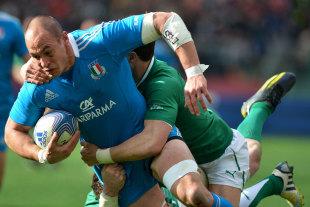 Italy's Sergio Parisse is hauled down by the Ireland defence, Italy v Ireland, Six Nations, Stadio Olimpico, Rome, Italy, March 16, 2013