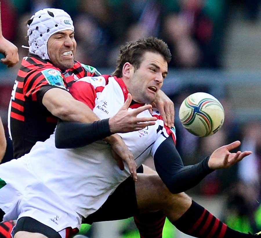 Saracens hooker Schalk Brits tackles Jared Payne