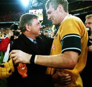 Australia coach Rod MacQueen congratulates Justin Harrison, Australia v British & Irish Lions, Stadium Australia, July 14, 2001