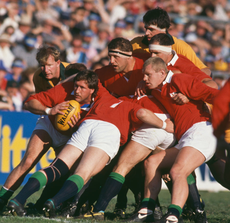 The Lions Mike Teague at the back of a ruck