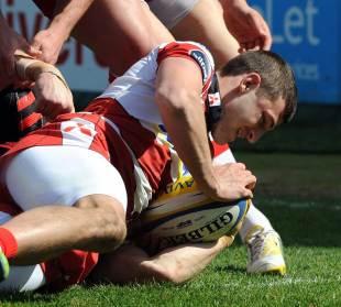 Gloucester's Jonny May touches down against Saracens, Gloucester v Saracens, Aviva Premiership, Kingsholm, Gloucester, England, April 20, 2013