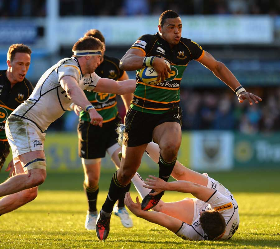 Northampton's Luther Burrell makes inroads into the Sale defence