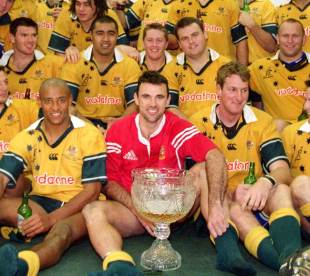The Wallabies pose with the Tom Richards trophy, Australia v British & Irish Lions, Stadium Australia, July 14, 2001