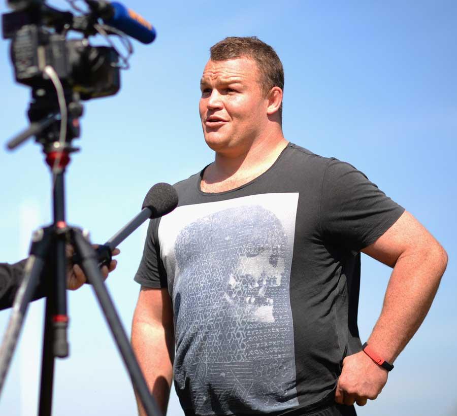 Saracens prop Matt Stevens fields questions