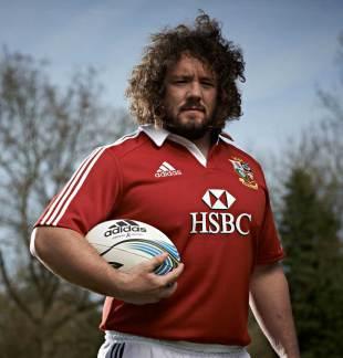 Wales' Adam Jones poses in his British & Irish Lions kit, May 1, 2013