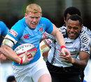 England's John Brake slips through Fiji's defence