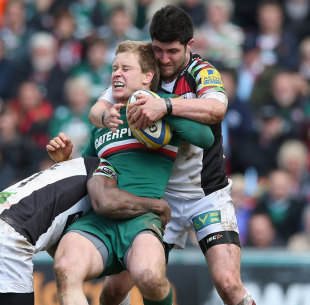 Harlequins attempt to shackle Leicester's Mathew Tait, Leicester Tigers v Harlequins, Aviva Premiership semi-final, Welford Road, Leicester, May 11, 2013