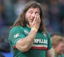 Leicester's Martin Castrogiovanni sheds a tear
