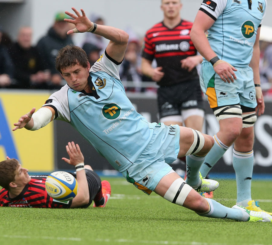 Northampton's Tom Wood pounces on a loose ball