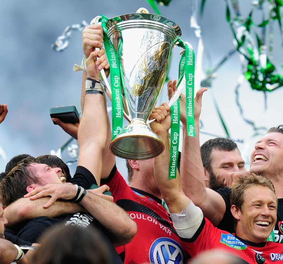 Toulon's Jonny Wilkinson and Joe van Niekerk lift the Heineken Cup