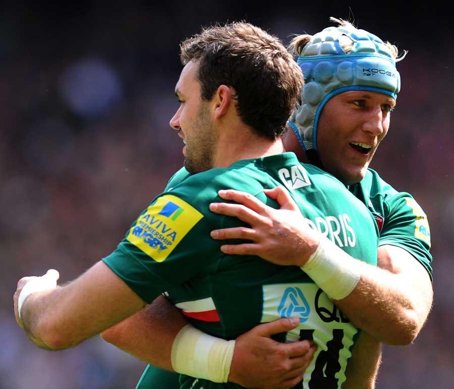 Leicester's Jordan Crane congratulates Niall Morris on his try