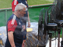 Warren Gatland feels the heat during the first Lions training session