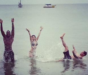 Danny Cipriani, Ugo Monye and Kelly Brook on holiday, Tobago, May 27, 2013
