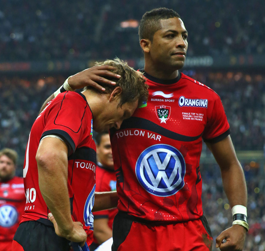 Toulon's Delon Armitage consoles captain Jonny Wilkinson