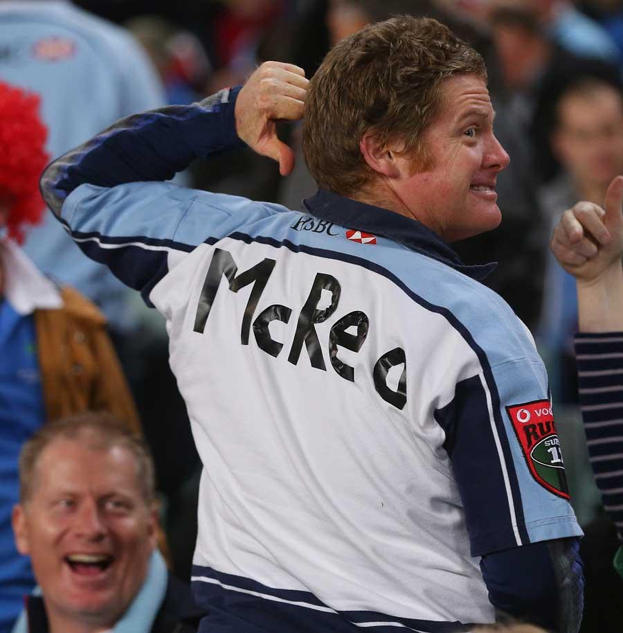 A fan wears a Duncan McRae shirt
