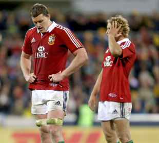 The Lions' Ian Evans and Billy Twelvetrees pictured during this defeat to the Brumbies, Brumbies v British & Irish Lions, Canberra Stadium, June 18, 2013