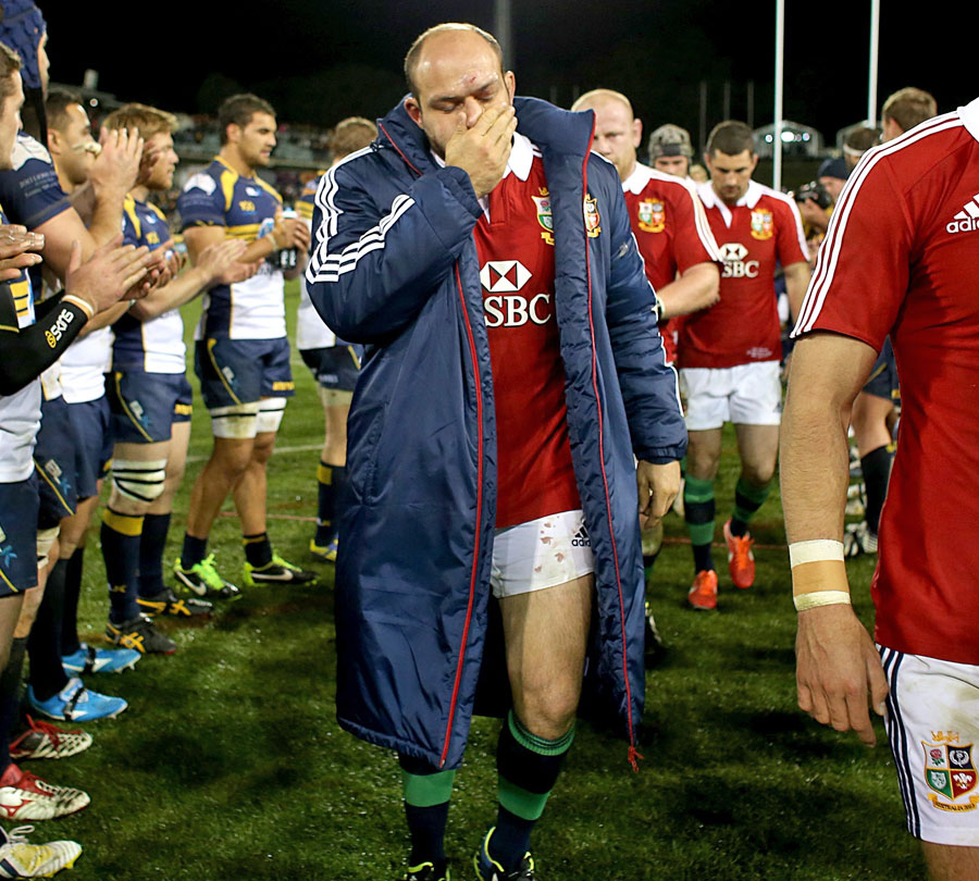 Dejected Lions captain Rory Best leads his side from the field