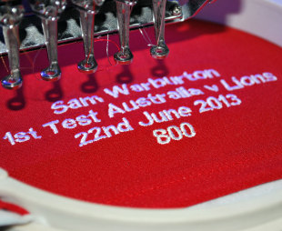 Sam Warburton's Lions shirt is embroidered ahead of the first Test against Australia, Brisbane, June 21, 2013