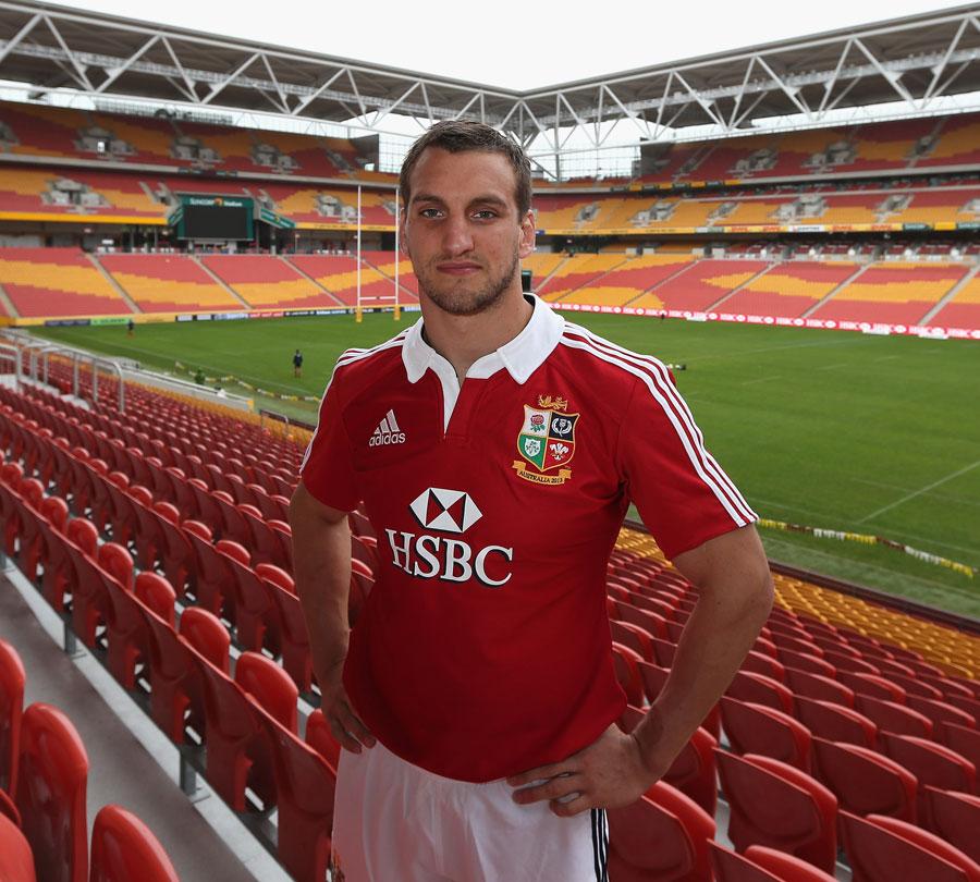 Lions captain Sam Warburton poses at the Suncorp Stadium