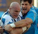 Scotland's Alasdair Strokosch wrestles with Italy's Alessandro Zanni