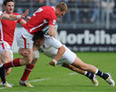 England Under-20s' Harry Sloan puts in a big hit on Wales' Jack Dixon