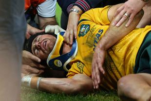 Australia's Berrick Barnes suffered a neck injury, Australia v British & Irish Lions, Tom Richards Cup, Suncorp Stadium, Brisbane, June 22, 2013