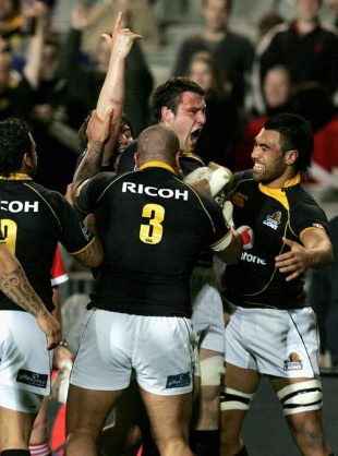 Jeremy Thrush of Wellington is congratulated by team mates after scoring a try during the Air New Zealand Cup match between Auckland and Wellington at Eden Park on September 20, 2008 in Auckland, New Zealand.