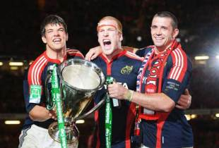 Munster forwards Paul O'Connell, Alan Quinlan and Donncha O'Callaghan celebrate with their second Heineken Cup, Munster v Toulouse, Heineken Cup, Millennium Stadium, May 24 2008.