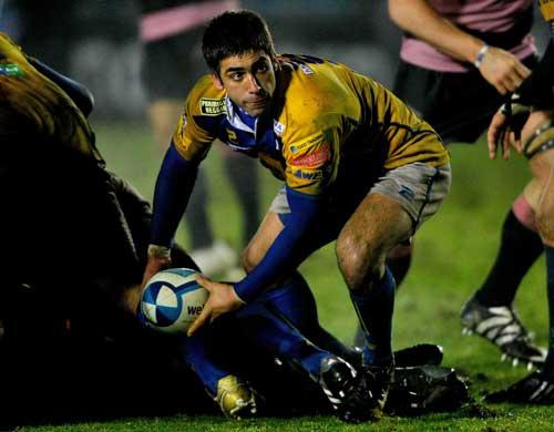 Parma scrum-half Jose Pellicena prepares to pass