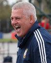 Lions coach Warren Gatland raises a smile in training