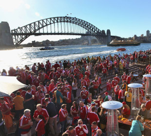 Fans warm up for the series decider between Australia and the British & Irish Lions, Sydney, July 6, 2013