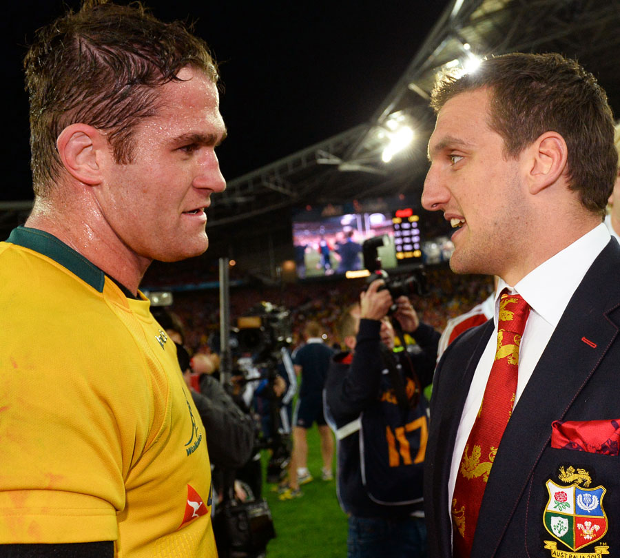 Australia skipper James Horwill congratulates Lions captain Sam Warburton