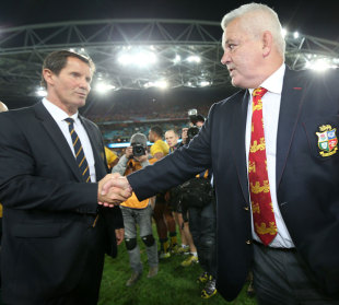 Australia coach Robbie Deans congratulates Lions boss Warren Gatland, Australia v British & Irish Lions, ANZ Stadium, Sydney, July 6, 2013