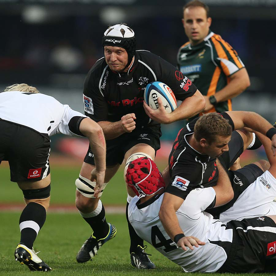 Franco van der Merwe of the Sharks braces for a tackle