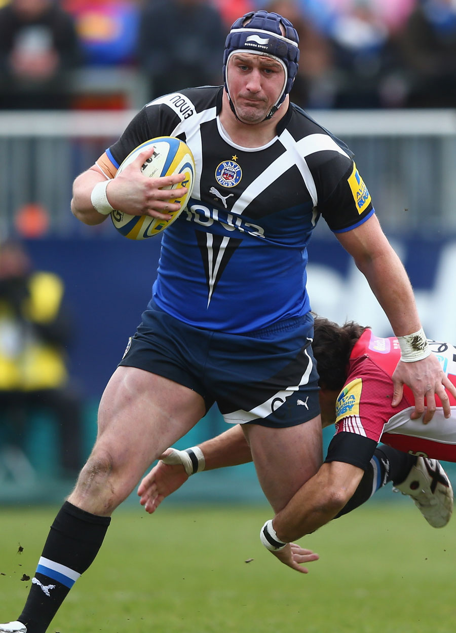 Bath's Carl Fearns powers out of a tackle
