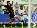 Toulon's scrum-half Nicolas Durand vies with Marseille's midfielder Dimitri Payet