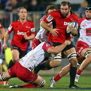 The Crusaders' George Whitelock breaks a tackle against the Reds, Crusaders v Queensland Reds, Super Rugby, Super Rugby qualifiers, AMI Stadium, Christchurch, July 20, 2013