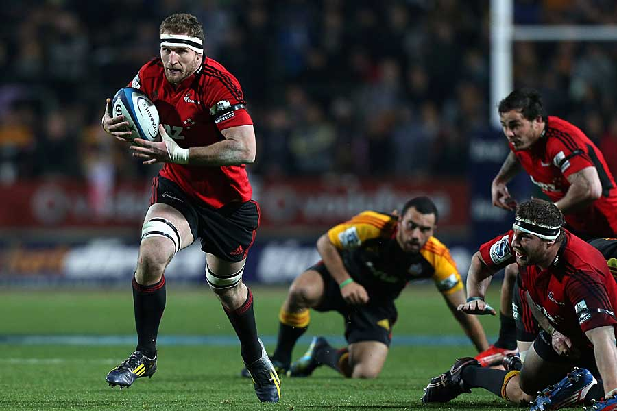 The Crusaders' Kieran Read makes a bust against the Chiefs