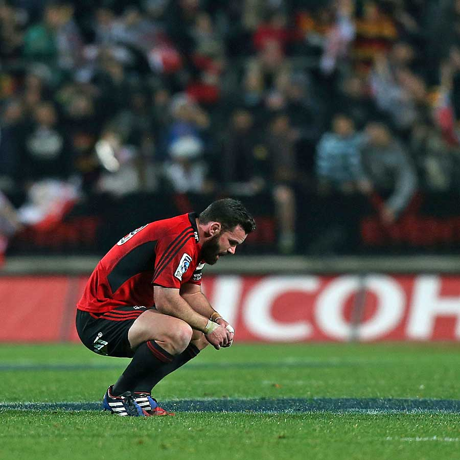 The Crusaders' Ryan Crotty is dejected after losing to the Chiefs
