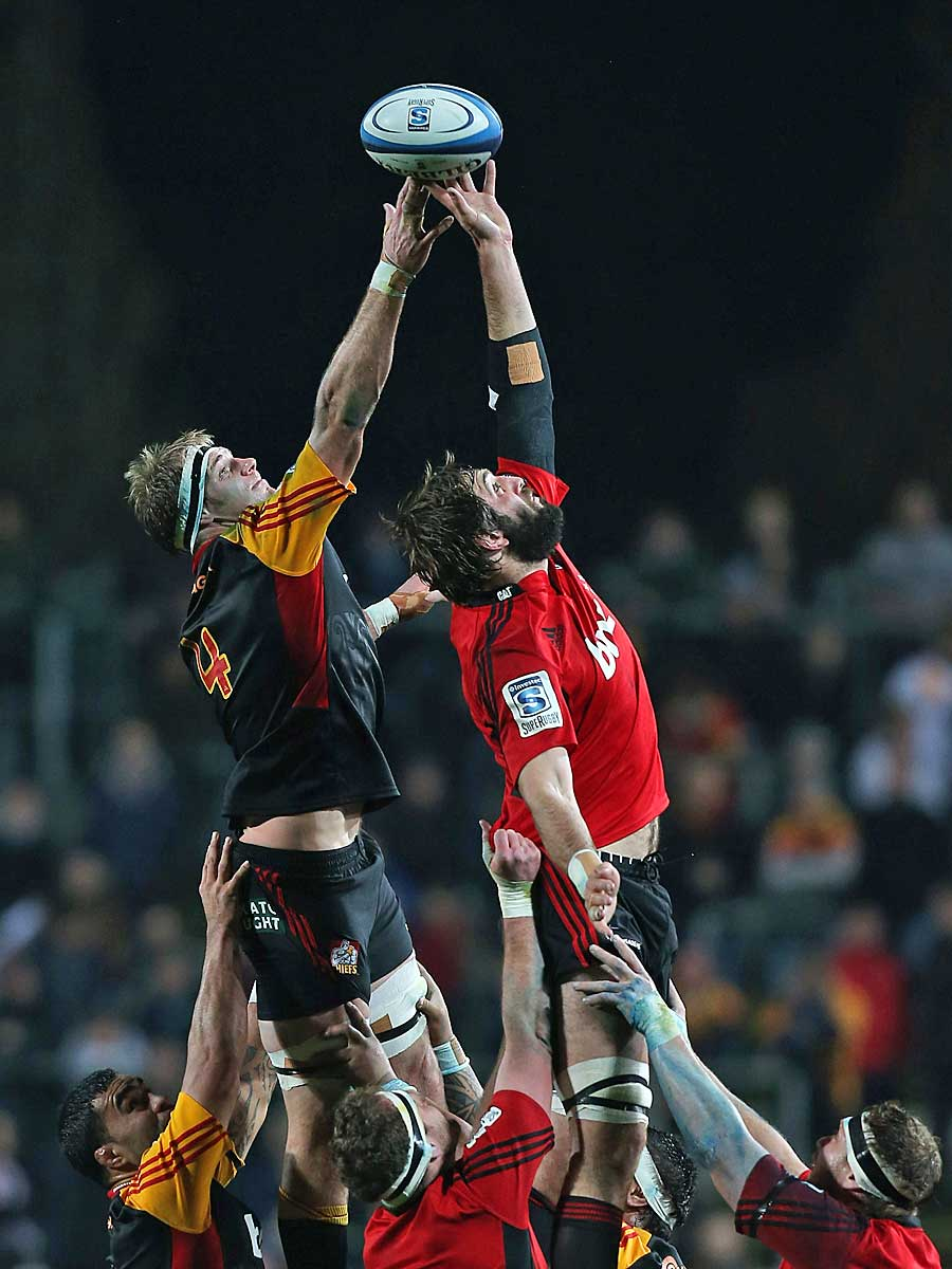 The Chiefs' Craig Clarke and Sam Whitelock battle in a lineout