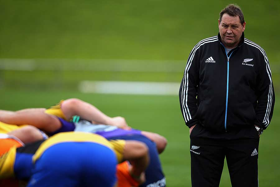 New Zealand coach Steve Hansen observes an All Blacks training session
