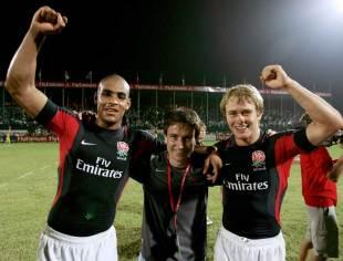 England Sevens coach stands alongside Tom Varndell and Mathew Tait, Dubai, December 2, 2005