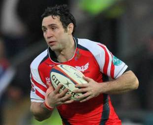 The Scarlets Stephen Jones holds onto the ball during their Anglo-Welsh Cup match against Northampton Saints at Frankllin's Gardens in Northampton, England on November 1, 2008.