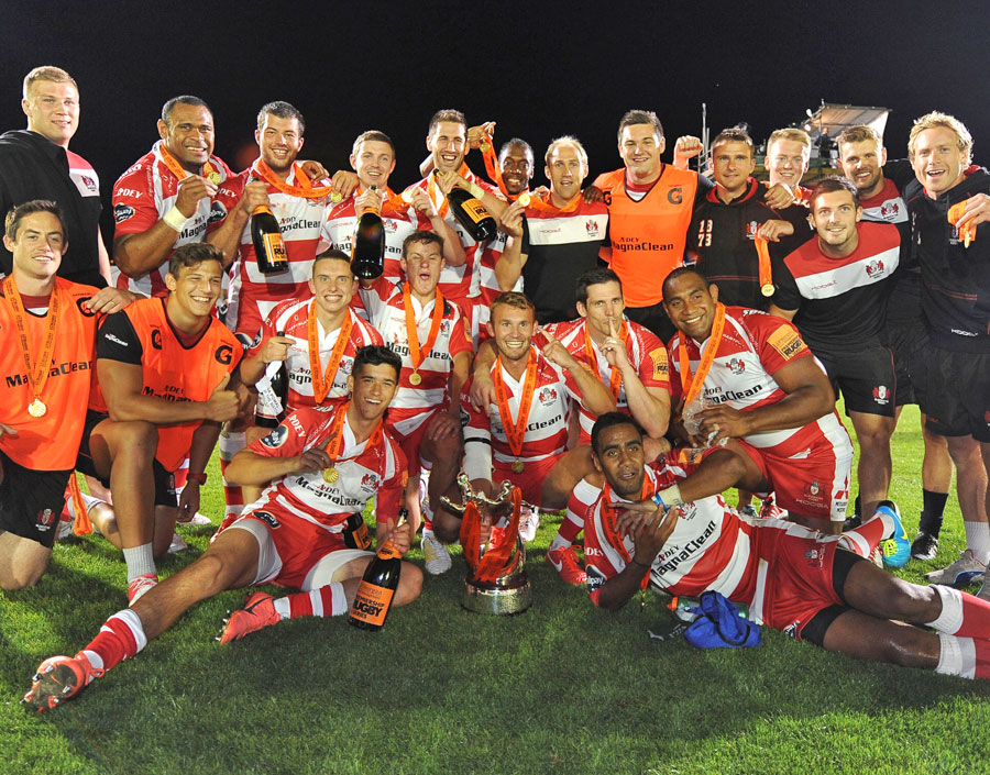 Gloucester celebrate winning the Premiership Rugby 7s