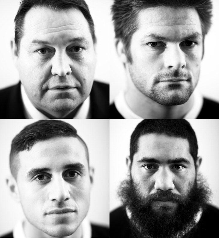 All Blacks coach Steve Hansen and players Richie McCaw, Charlie Faumuina and TJ Perenara