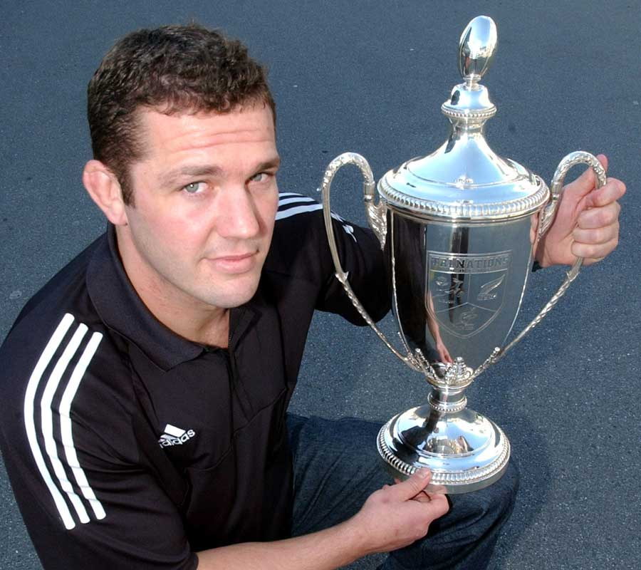 All Blacks skipper Reuben Thorne with the Tri-Nations silverware