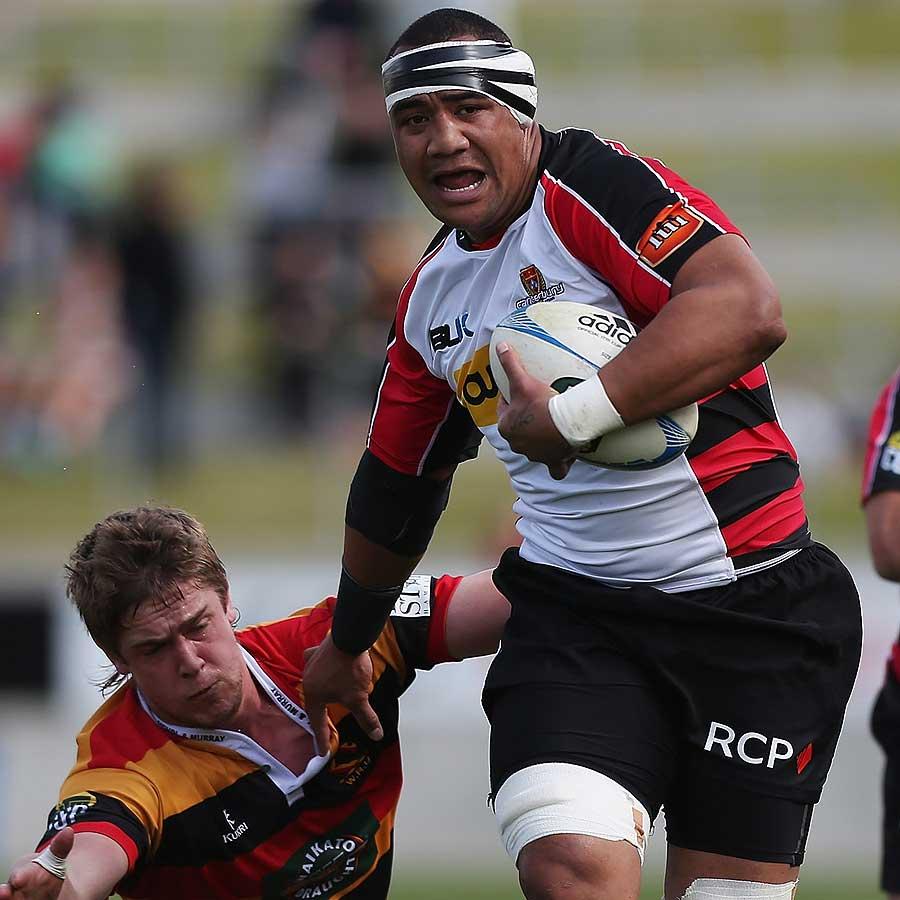 Canterbury's Nasi Manu fends off a tackle