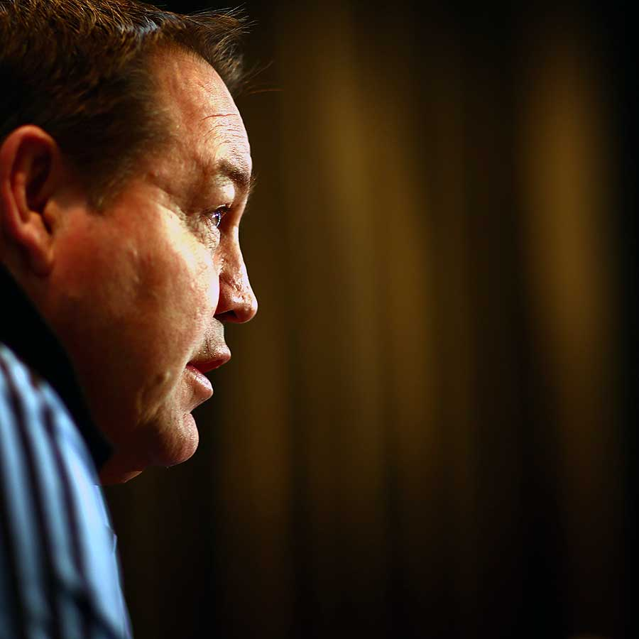 New Zealand's Steve Hansen speaks during an All Blacks media session, Intercontinental Hotel, Wellington, New Zealand, August 15, 2013