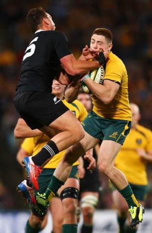 New Zealand's Israel Dagg vies for the high ball with James O'Connor, Australia v New Zealand, Rugby Championship, ANZ Stadium, Sydney, August 17, 2013